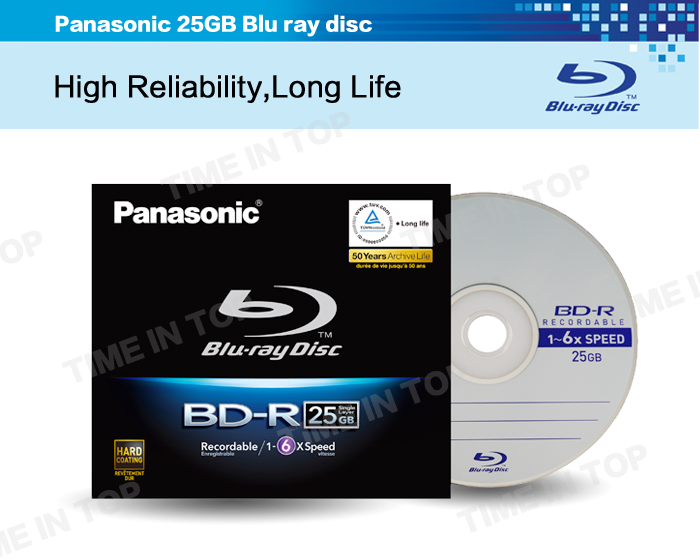 panasonic 25gb disque bluray bd r disque blu ray 6x disque enregistrable bluray. Black Bedroom Furniture Sets. Home Design Ideas